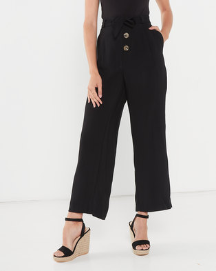 Utopia Straight Leg Pants With Buttons Black
