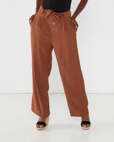Utopia Tan Straight-leg Pant With Buttons