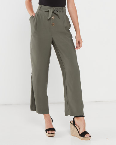 Utopia Straight Leg Pants With Buttons Olive