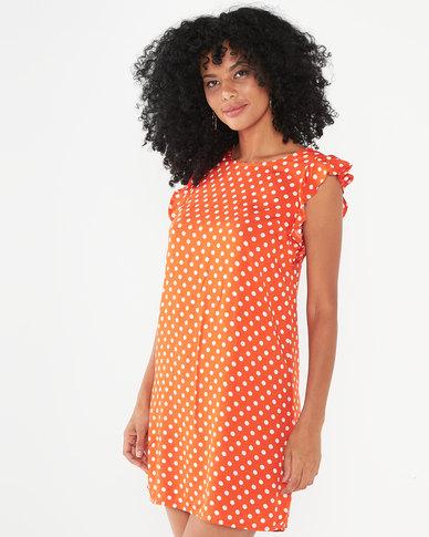 Utopia Polka Dot Basic Tunic Dress Orange
