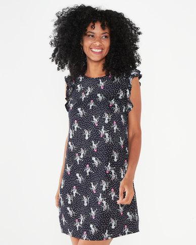 Utopia Bird Print Basic Tunic Dress  Black