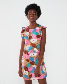 Utopia Leaf Print Basic Tunic Dress Multi
