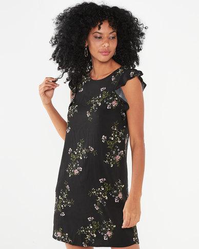 Utopia Floral Print Basic Tunic Dress Black