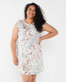 Utopia Plus Floral Viscose Tunic  White