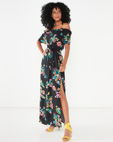 Utopia Floral Maxi Bardot Dress Black