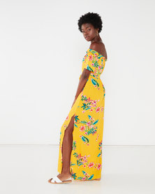 Utopia Yellow Floral Print Maxi Bardot Dress