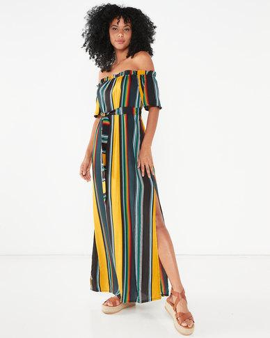 Utopia Stripe Maxi Bardot Dress Multi