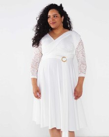 Infinity Dress SA Plus Size Ivory White Cocktail Amber Rose Wrap Dress