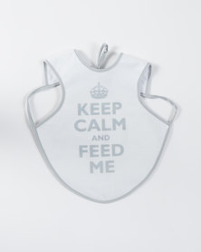 Home Grown Keep Calm & Feed Me Bib Grey