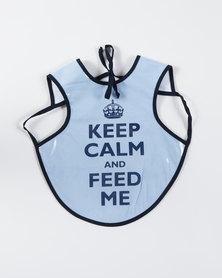 Home Grown Keep Calm & Feed Me Bib Navy