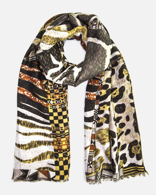 Cazabella Multicolour Animal Print Scarf
