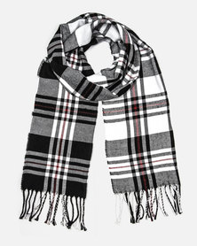 Cazabella Black White And Red Check Print Scarf