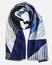Cazabella Blue, Black & White Geometric Design Scarf