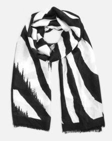 Cazabella Black & White Zebra Print Scarf