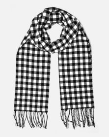 Cazabella Black And White Scarf With Small Check Print