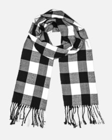 Cazabella Black And White Scarf With Large Check Print