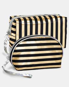 Cazabella Cosmetic Bag Combo Black & Rose Gold