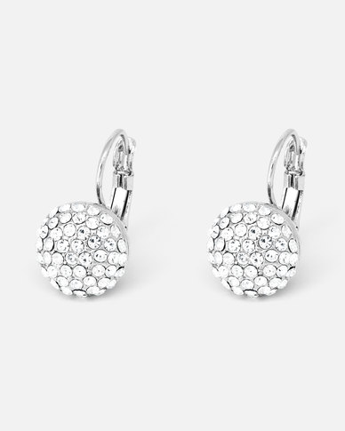 Cazabella Silver Tone Hanging Round Earrings With Clear Crystals