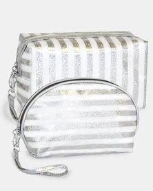 Cazabella Cosmetic Bag Combo - Silver & White