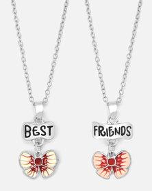 "Cazabella ""BEST FRIENDS"" Pink Butterfly Necklace Set"