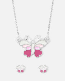 Cazabella Pink & White Butterfly Earring And Necklace Set