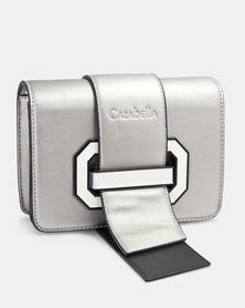 Cazabella Silver Cross Body Bag With White Buckle