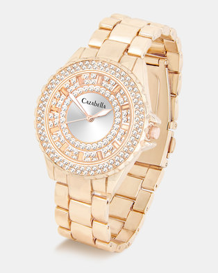 Cazabella Ladies Rose Gold Tone Watch Encrusted With Crystals