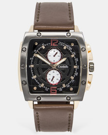 Cazabella Mens Square Brown And Rose Gold Watch