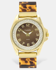 Cazabella Gold Tone Watch With Tortoise Shell Strap