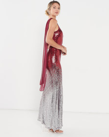 Obsession One Shoulder Sequin Gown - Red
