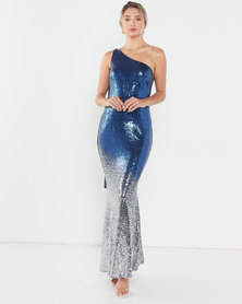 Obsession One Shoulder Sequin Gown - Blue