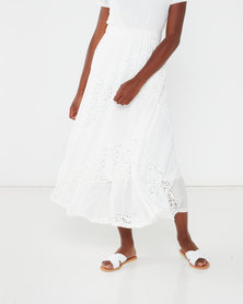 Queenspark Burnout Maxi Knit Skirt White