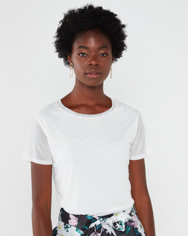 Queenspark Double Layer Mesh Knit Top White