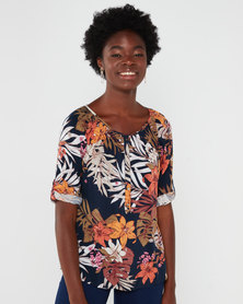 Queenspark Floral Printed Woven Blouse Navy