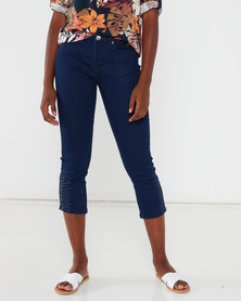 Queenspark Criss Cross Woven Denim Capri Indigo