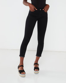 Queenspark Bow Detail Woven Denim Capri Black