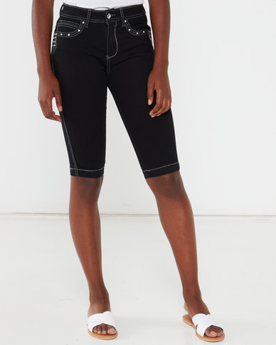 Queenspark Thick Stitch Detail Denim Shorts Black