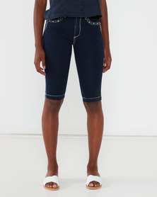 Queenspark Thick Stitch Detail Denim Shorts Indigo