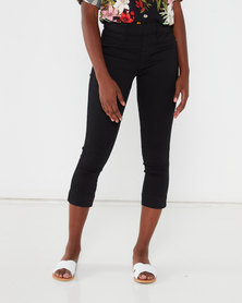 Queenspark Stitch Detail Denim Woven Capri Black