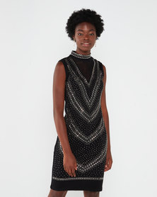 Queenspark Beaded Choker Knit Shift Dress Black