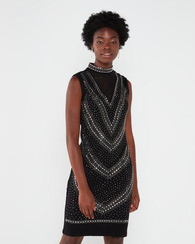 Queenspark Beaded Choker Knit Shift Dress Black
