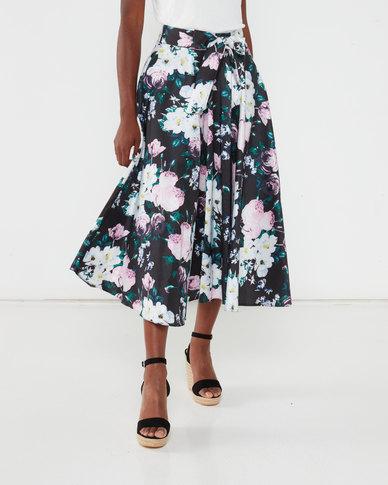Queenspark Taffeta Bias Cut Woven Skirt Multi