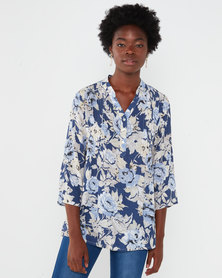 Queenspark  Floral Pintuck 1/4 Placket Woven Shirt Blue