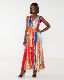 Cath Nic By Queenspark Chain Printed Maxi Woven Dress Orange