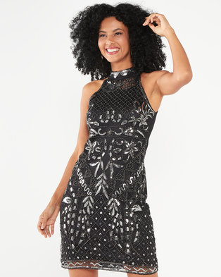 cath.nic By Queenspark Sequence Embellished Knit Dress Black
