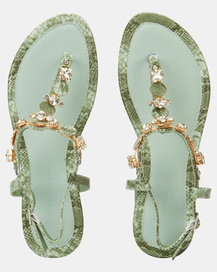 Queenspark Python Trim Mini Wedge Embellished Upper Sandals Mint
