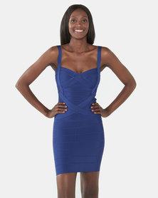 UrielP Haute Couture Bodycon Sweetheart Mini Dress Blue