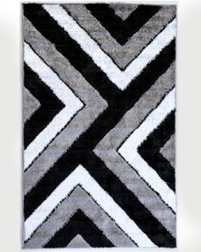 Lush Living Rug Numeri Collection Grey Black Shaggy 133x210