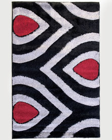 Lush Living Rug Numeri Collection Black Red Shaggy 133x210
