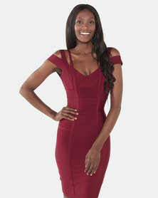 UrielP Haute Couture Bodycon Dress Maroon
